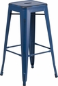 30'' High Backless Distressed Antique Blue Metal Indoor-Outdoor Barstool [ET-BT3503-30-AB-GG]