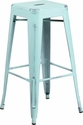 30'' High Backless Distressed Green-Blue Metal Indoor-Outdoor Barstool [ET-BT3503-30-DB-GG]