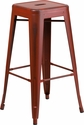 30'' High Backless Distressed Kelly Red Metal Indoor-Outdoor Barstool [ET-BT3503-30-RD-GG]