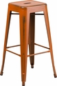 30'' High Backless Distressed Orange Metal Indoor-Outdoor Barstool [ET-BT3503-30-OR-GG]