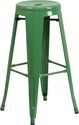 30'' High Backless Green Metal Indoor-Outdoor Barstool with Round Seat [CH-31350-30-GN-GG]