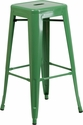 30'' High Backless Green Metal Indoor-Outdoor Barstool with Square Seat [CH-31320-30-GN-GG]