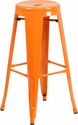30'' High Backless Orange Metal Indoor-Outdoor Barstool with Round Seat [CH-31350-30-OR-GG]