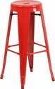 30'' High Backless Red Metal Indoor-Outdoor Barstool with Round Seat [CH-31350-30-RED-GG]