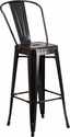 30'' High Black-Antique Gold Metal Indoor-Outdoor Barstool with Back [CH-31320-30GB-BQ-GG]