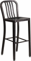 30'' High Black-Antique Gold Metal Indoor-Outdoor Barstool with Vertical Slat Back [CH-61200-30-BQ-GG]
