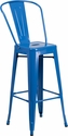 30'' High Blue Metal Indoor-Outdoor Barstool with Back [CH-31320-30GB-BL-GG]
