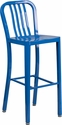 30'' High Blue Metal Indoor-Outdoor Barstool with Vertical Slat Back [CH-61200-30-BL-GG]