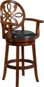 30'' High Brandy Wood Barstool with Arms and Black Leather Swivel Seat [TA-550230-BDY-GG]