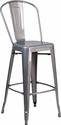30'' High Clear Coated Indoor Counter Height Stool with Back [XU-DG-TP001B-30-GG]