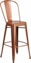 30'' High Copper Metal Indoor-Outdoor Barstool with Back [ET-3534-30-POC-GG]