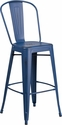 30'' High Distressed Antique Blue Metal Indoor-Outdoor Barstool with Back [ET-3534-30-AB-GG]