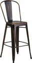 30'' High Distressed Copper Metal Indoor-Outdoor Barstool with Back [ET-3534-30-COP-GG]