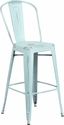 30'' High Distressed Green-Blue Metal Indoor-Outdoor Barstool with Back [ET-3534-30-DB-GG]