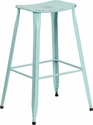 29.75'' High Distressed Green-Blue Metal Indoor-Outdoor Saddle Comfort Barstool [ET-3604-30-DISBL-GG]