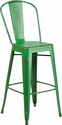 30'' High Distressed Green Metal Indoor-Outdoor Barstool with Back [ET-3534-30-GN-GG]