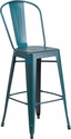 30'' High Distressed Kelly Blue-Teal Metal Indoor-Outdoor Barstool with Back [ET-3534-30-KB-GG]