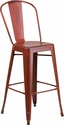 30'' High Distressed Kelly Red Metal Indoor-Outdoor Barstool with Back [ET-3534-30-RD-GG]