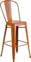 30'' High Distressed Orange Metal Indoor-Outdoor Barstool with Back [ET-3534-30-OR-GG]