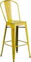 30'' High Distressed Yellow Metal Indoor-Outdoor Barstool with Back [ET-3534-30-YL-GG]