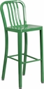 30'' High Green Metal Indoor-Outdoor Barstool with Vertical Slat Back [CH-61200-30-GN-GG]