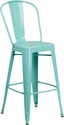30'' High Mint Green Metal Indoor-Outdoor Barstool with Back [ET-3534-30-MINT-GG]