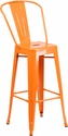 30'' High Orange Metal Indoor-Outdoor Barstool with Back [CH-31320-30GB-OR-GG]