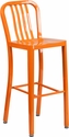 30'' High Orange Metal Indoor-Outdoor Barstool with Vertical Slat Back [CH-61200-30-OR-GG]
