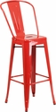 30'' High Red Metal Indoor-Outdoor Barstool with Back [CH-31320-30GB-RED-GG]