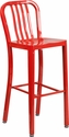 30'' High Red Metal Indoor-Outdoor Barstool with Vertical Slat Back [CH-61200-30-RED-GG]