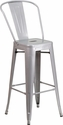 30'' High Silver Metal Indoor-Outdoor Barstool with Back [CH-31320-30GB-SIL-GG]