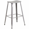 30'' High Silver Metal Indoor-Outdoor Saddle Comfort Barstool [ET-3604-30-SIL-GG]