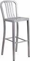 30'' High Silver Metal Indoor-Outdoor Barstool with Vertical Slat Back [CH-61200-30-SIL-GG]