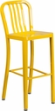 30'' High Yellow Metal Indoor-Outdoor Barstool with Vertical Slat Back [CH-61200-30-YL-GG]