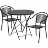 30'' Round Black Indoor-Outdoor Steel Folding Patio Table Set with 2 Round Back Chairs [CO-30RDF-03CHR2-BK-GG]