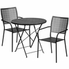 30'' Round Black Indoor-Outdoor Steel Folding Patio Table Set with 2 Square Back Chairs [CO-30RDF-02CHR2-BK-GG]