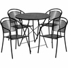 30'' Round Black Indoor-Outdoor Steel Folding Patio Table Set with 4 Round Back Chairs [CO-30RDF-03CHR4-BK-GG]