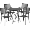 30'' Round Black Indoor-Outdoor Steel Folding Patio Table Set with 4 Square Back Chairs [CO-30RDF-02CHR4-BK-GG]