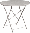 30'' Round Light Gray Indoor-Outdoor Steel Folding Patio Table [CO-4-SIL-GG]