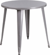 30'' Round Silver Metal Indoor-Outdoor Table [CH-51090-29-SIL-GG]