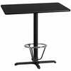 30'' x 42'' Rectangular Black Laminate Table Top with 22'' x 30'' Bar Height Table Base and Foot Ring [XU-BLKTB-3042-T2230B-3CFR-GG]