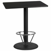 30'' x 42'' Rectangular Black Laminate Table Top with 24'' Round Bar Height Table Base and Foot Ring [XU-BLKTB-3042-TR24B-4CFR-GG]