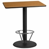 30'' x 42'' Rectangular Natural Laminate Table Top with 24'' Round Bar Height Table Base and Foot Ring [XU-NATTB-3042-TR24B-4CFR-GG]
