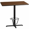 30'' x 42'' Rectangular Walnut Laminate Table Top with 22'' x 30'' Bar Height Table Base and Foot Ring [XU-WALTB-3042-T2230B-3CFR-GG]