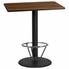 30'' x 42'' Rectangular Walnut Laminate Table Top with 24'' Round Bar Height Table Base and Foot Ring [XU-WALTB-3042-TR24B-4CFR-GG]