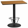 30'' x 45'' Rectangular Natural Laminate Table Top with 24'' Round Bar Height Table Base and Foot Ring [XU-NATTB-3045-TR24B-4CFR-GG]