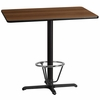30'' x 45'' Rectangular Walnut Laminate Table Top with 22'' x 30'' Bar Height Table Base and Foot Ring [XU-WALTB-3045-T2230B-3CFR-GG]