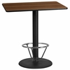30'' x 45'' Rectangular Walnut Laminate Table Top with 24'' Round Bar Height Table Base and Foot Ring [XU-WALTB-3045-TR24B-4CFR-GG]