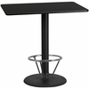 30'' x 48'' Rectangular Black Laminate Table Top with 24'' Round Bar Height Table Base and Foot Ring [XU-BLKTB-3048-TR24B-4CFR-GG]