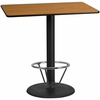30'' x 48'' Rectangular Natural Laminate Table Top with 24'' Round Bar Height Table Base and Foot Ring [XU-NATTB-3048-TR24B-4CFR-GG]